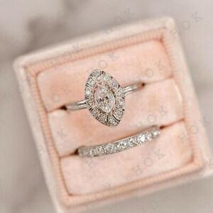 Art-Deco-1-Ct-Diamond-Vintage-Bridal-Set-Engagement-Ring-14k-White-Gold-Finish