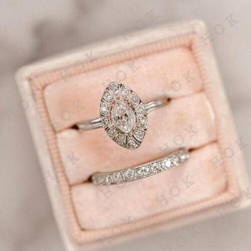 Art Deco 1 Ct Diamond Vintage Bridal Set Engagement Ring 14k White Gold Finish