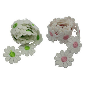 2x Daisy Venice Applique Lace Flower Sewing Trim Ribbon for Dress Decor 1yd