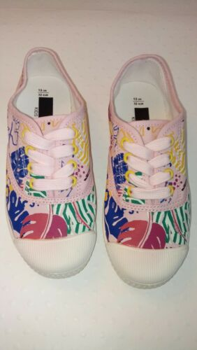 New Marks and Spencer Pink Multi Tropical Print Canvas Laced Pumps Size 13 Kids