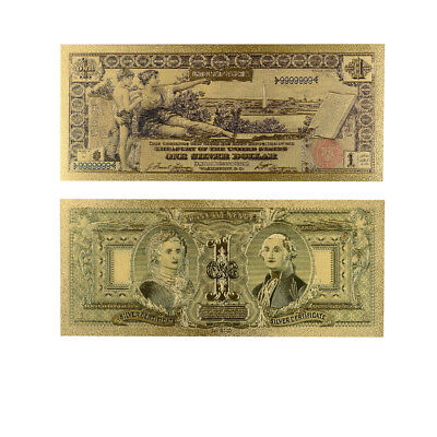 Collectible Souvenir Gifts 1896 Year One Dollar 24k Gold Plated Money with COA