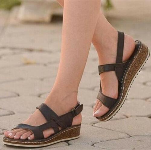 Été Femme Bride Arrière Sandales Compensées Talons Bout Ouvert Boucle Chaussures De Loisirs Confort