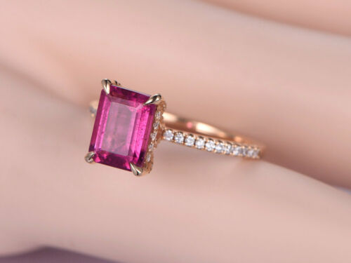 3.00CT Emerald Cut Pink Sapphire Halo Engagement Ring 14K Rose Gold Over