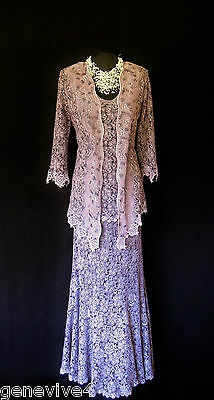ANN BALON Pink Lilac Lace Size 14 16 Ladies Wedding Outfit Skirt Top & Jacket