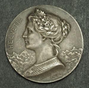 1900-Switzerland-France-Silver-034-Village-Suisse-in-Paris-034-Shooting-Medal-UNC