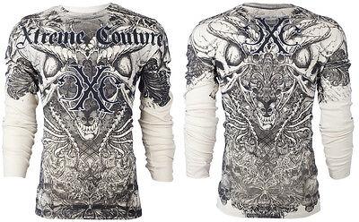 Xtreme Couture AFFLICTION Men THERMAL T-Shirt AZTEC Skull Tattoo Biker M-3XL $58