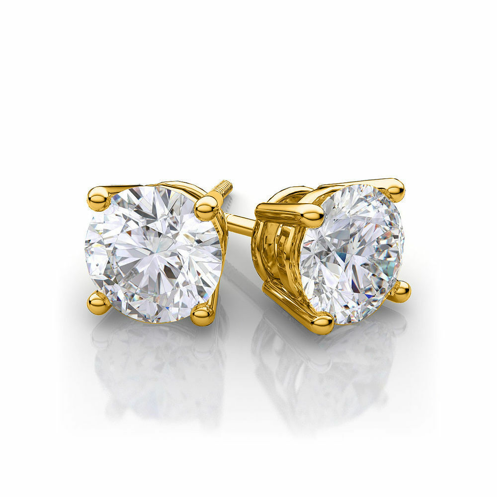 2 carat 14k solid yellow gold fn diamond stud screw back. Black Bedroom Furniture Sets. Home Design Ideas