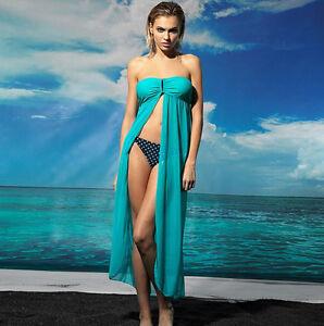 NEW Aqua Strapless U Buckle Kaftan Sheer Cape Summer Beachwear Dress XS S M 10