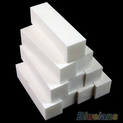 5Pcs Nail Art Buffer File Block Pedicure Manicure Buffing Sanding Polish White