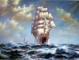 """Stunning Oil painting great seascape big sail boats with ocean waves canvas 36"""""""