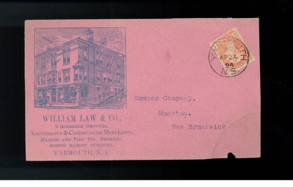 1894 Yarmouth Ns Canada To Moncton Illustrated Cover William Law Grocer