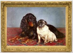 Old-Master-Art-Antique-Oil-Painting-animal-Portrait-dog-on-canvas-24-034-x36-034