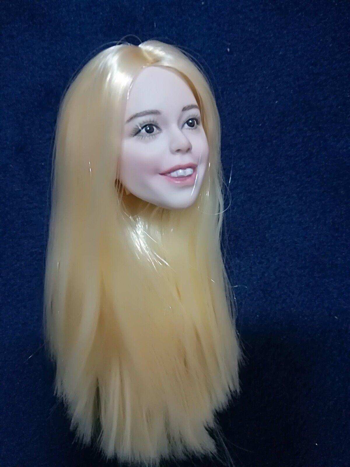 1 6 Happy Little princess Girl Pale Head Sculpt Light Blonde Hair Head Model Toy