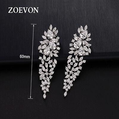 Luxury Women Ladies Drop Ear Studs CZ Dangle Earrings Charm Wedding Band Jewelry