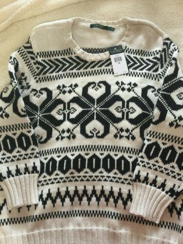 Dame Pullover Sort Lauren P Ralph 3x 165 Sweater Nwt Snow Cotton Cream Flake 5wU1XWFq