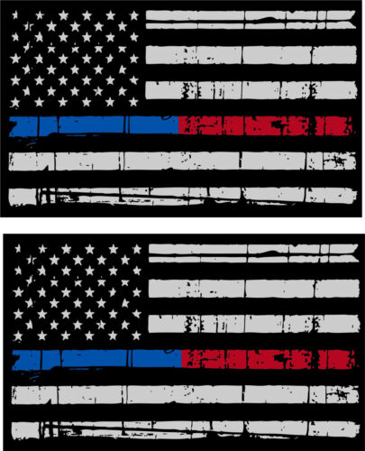 """Tattered Police Fire Thin Blue /& Red Line American Flag Decals x 2-3/"""" x 1.75/"""""""