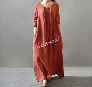 Womens-Hemp-Linen-Maxi-Dress-Regular-Loose-Dress-Stylish-Hot-robe-full-length