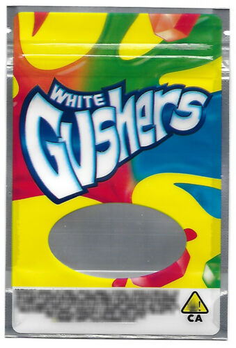 WHITE GUSHERS GAS HOUSE Mylar Resealable 3.5g Packaging 25 pack EMPTY BAGS