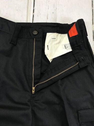 by REED New 65//35- Work CARGO Pants Black Industrial Uniform  w// FLEX Waist