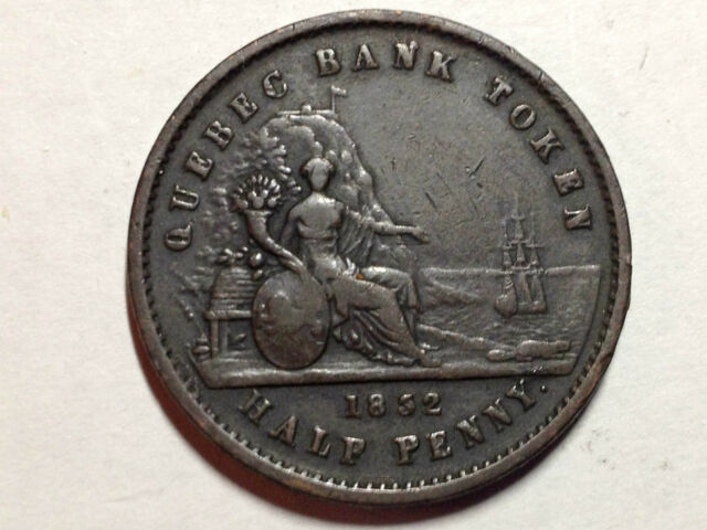 CANADA 1852 BANK OF QUEBEC HALF PENNY BEAUTIFUL COIN
