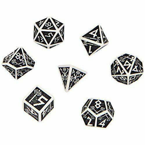 Q-Workshop Polyhedral 7-Die Carved Elvish 7 Dice Transparent//Blue QWS SELV11