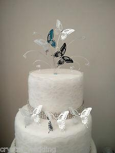 Mini Silver butterfly wedding cake topper + 3 butterfly side ...