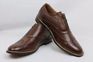 New Men's Dark Brown Dress Shoes Wing Tip Zipper Perforation Detai Parrazo Wood6