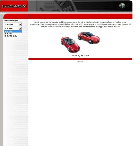 SPIDER ELEARN MANUALE OFFICINA WORKSHOP MANUAL WIRING DIAGRAMS ALFA ROMEO BRERA