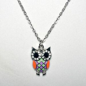 ADORABLE-ENAMEL-AND-CRYSTAL-OWL-PENDANT-W-18-INCH-SILVER-CHAIN