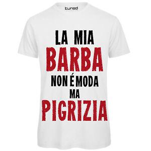 Dettagli su T Shirt Divertente Uomo Maglietta con Stampa Frase La Mia Barba è Pigrizia Tuned