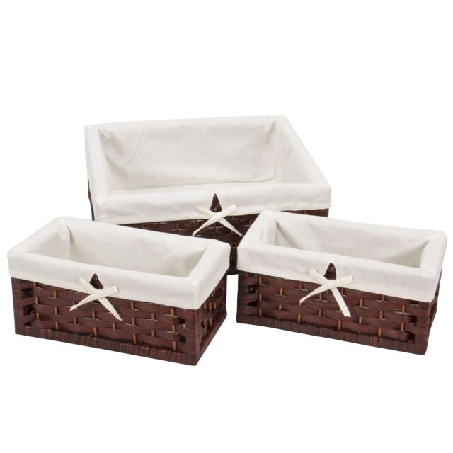 Merveilleux Household Essentials ML 7021 Set Of Three Wicker Storage Baskets With  Removable