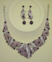 Bridal Wedding Stylish Earrings And Necklace Set With Purple And Silver Crystal