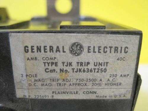 TJK436T250 3 Pole  30 DAY GUARANTEE GENERAL ELECTRIC 250 Amp TJK Trip Units cat