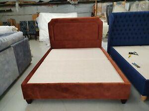 Willow-amp-Hall-Designer-Salisbury-Kingsize-bedstead-velvet-burnt-orange-brandnew