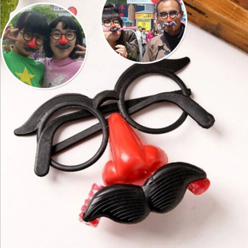 Funny Clown Glasses Costume Ball Round Frame Red Nose w//Whistle Mustache $T