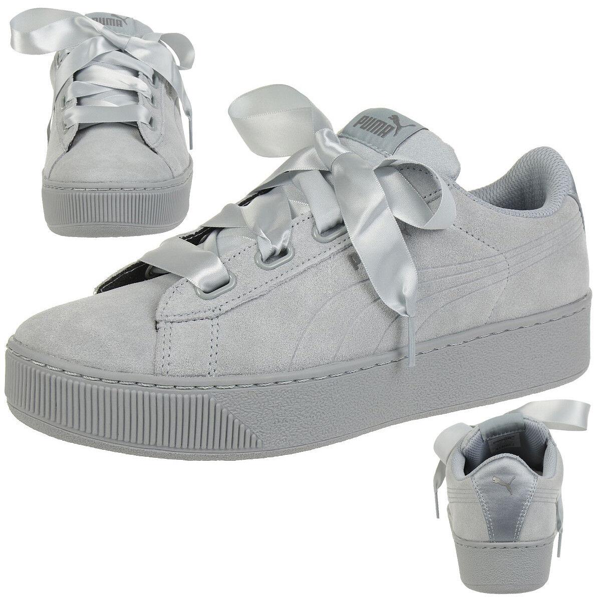 Puma Vikky Platform Ribbon S Leather scarpe da ginnastica Wouomo scarpe 366418 02 grigio