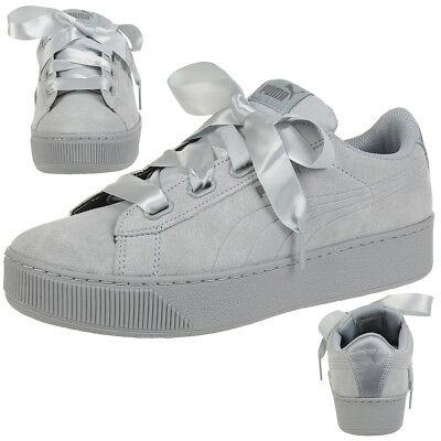 Puma Vikky Platform Ribbon S leather Sneaker Damen Schuhe 366418 02 grau | eBay