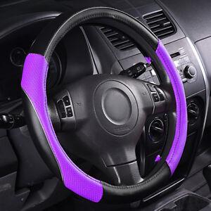 Universal-Leather-Steering-Wheel-Cover-Anti-slip-Purple-For-SUV-VAN-TRUCK-38CM