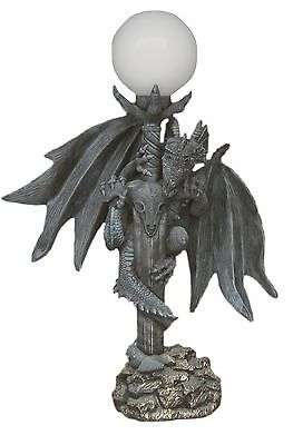 Drachenlampe Lampe Drachensäule Figur Stehlampe Gothic Dekofigur Drache Groß 19