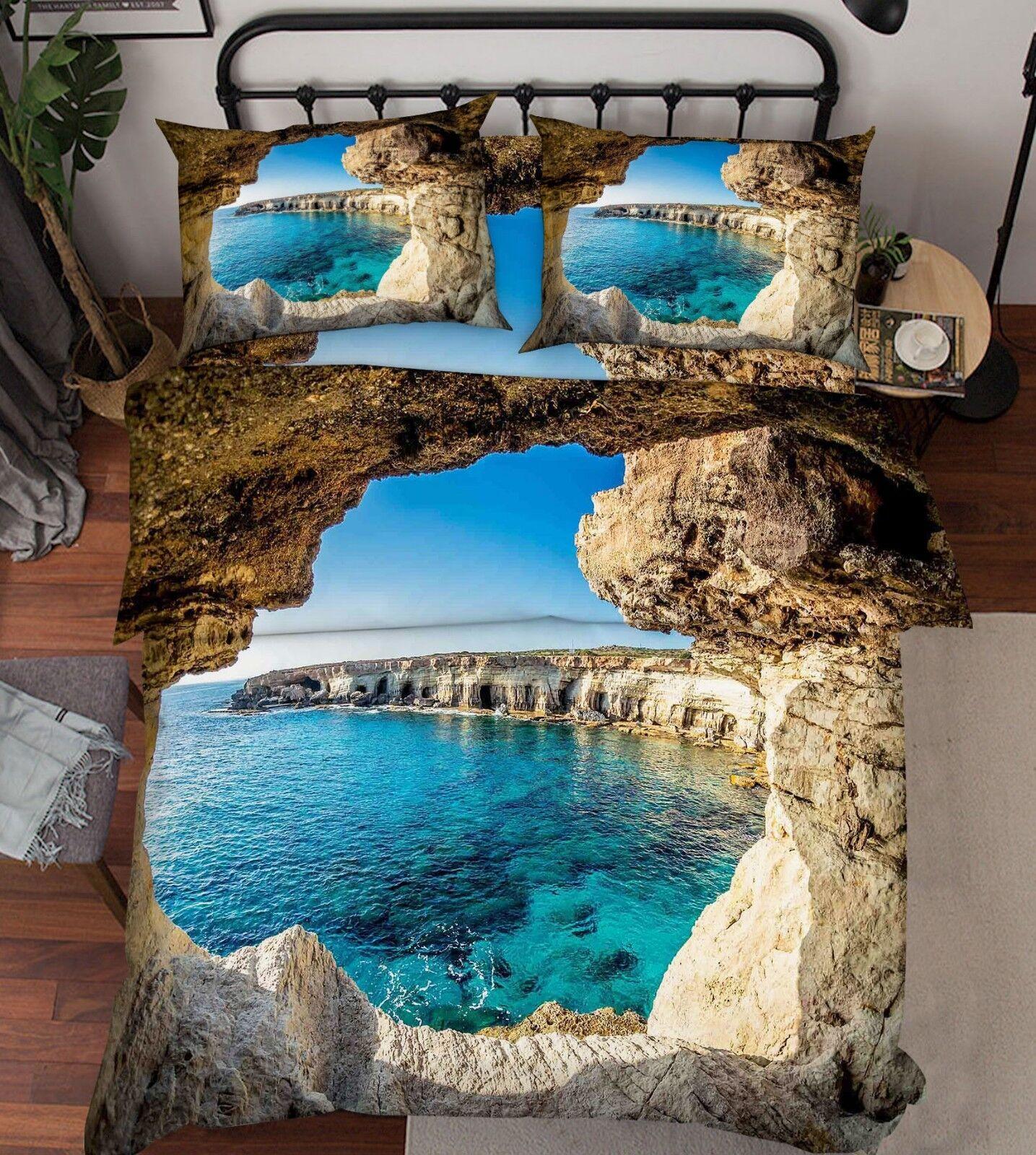 3D Island Ocean 686 Bed Pillowcases Quilt Duvet Cover Set Single King UK Lemon