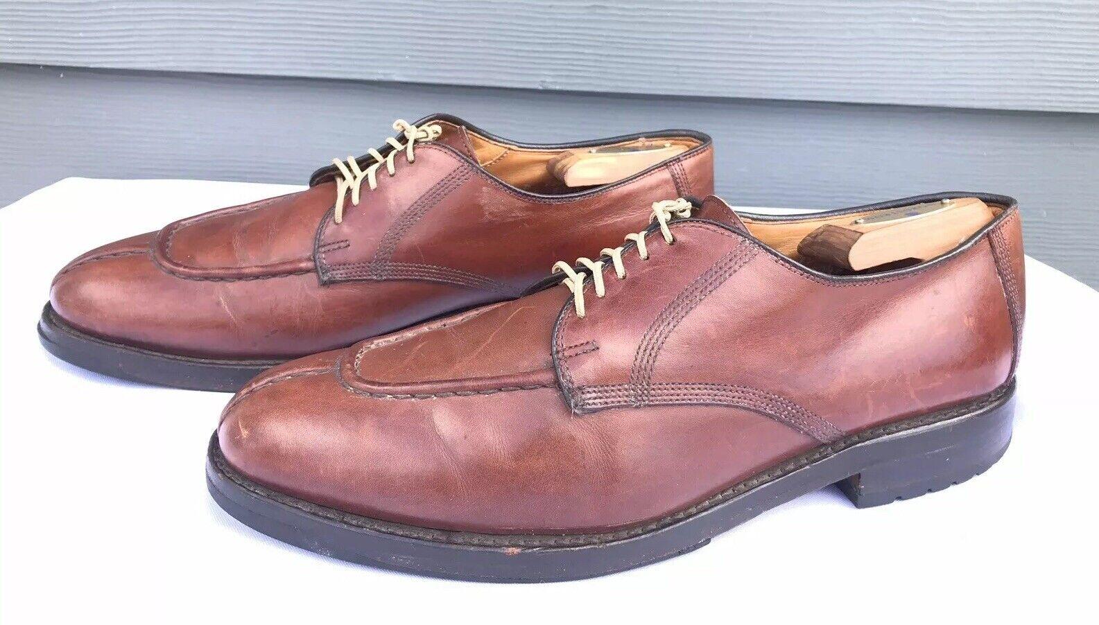Allen Edmonds Dellbois Homme Apron Split Toe en cuir marron derbies taille 10 US D