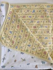 Carters John Lennon White Yellow Flannel Animal Baby Blankets LOT of 2