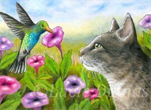 ACEO-art-print-Cat-591-bird-Hummingbird-from-original-painting-by-L-Dumas