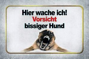 Hier-Wache-Ich-Biting-Dog-Tin-Sign-Shield-Metal-7-7-8x11-13-16in-CC0632