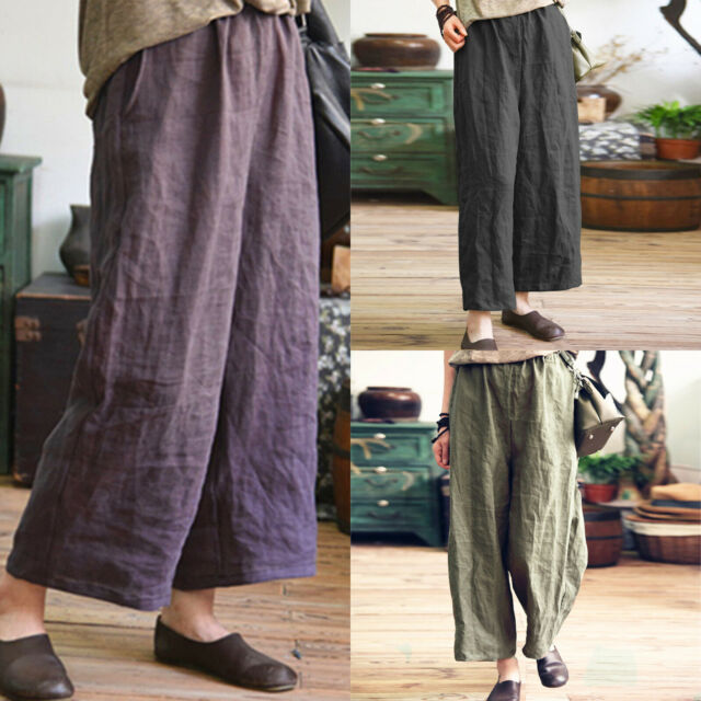 Womens High Waist Wide Leg Casual Harem Loose Cropped Pants Trousers Plus Size
