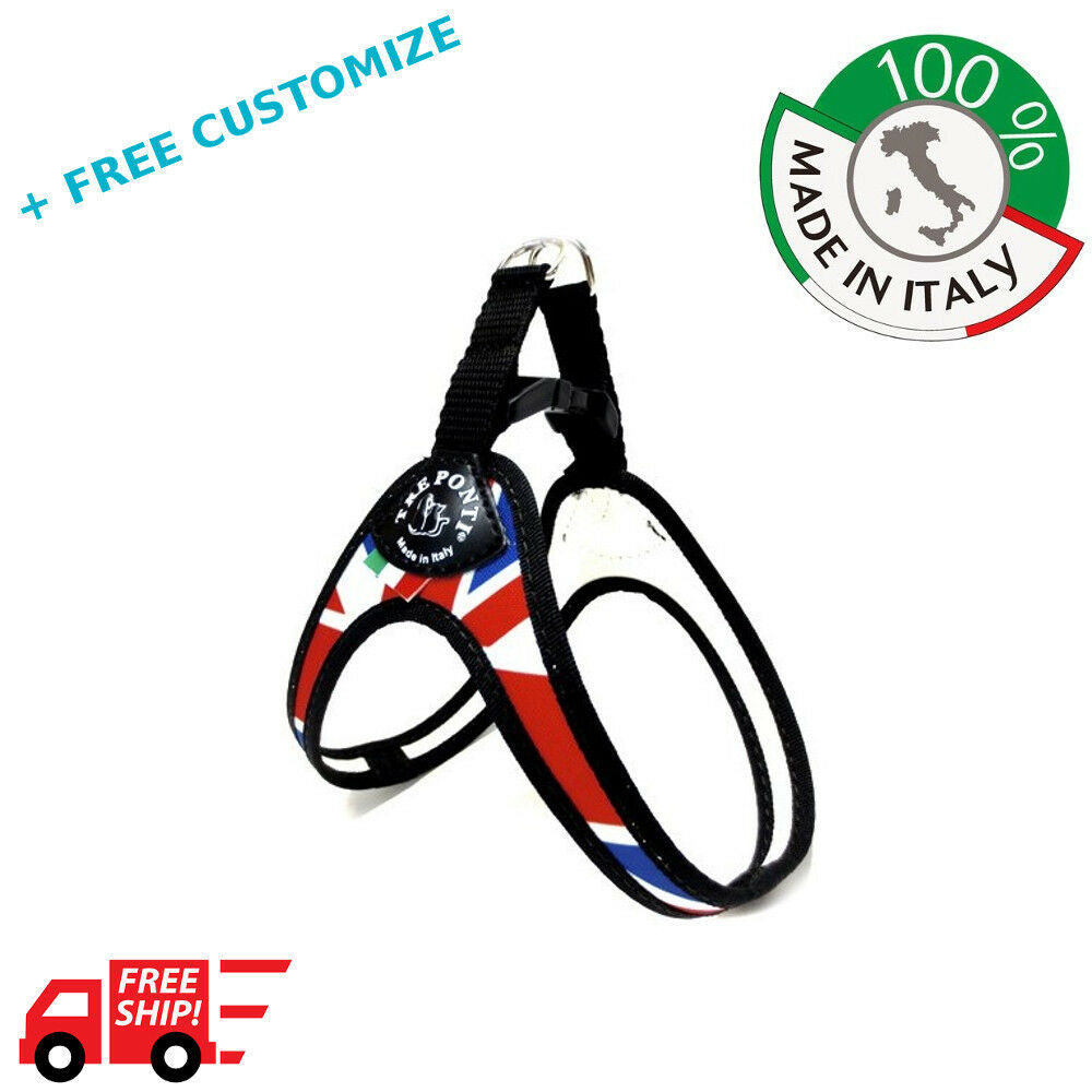 DOG HARNESSES TRE PONTI MOD. EASYFIT UK FLAG SMALL DOGS 100% MADE IN ITALY