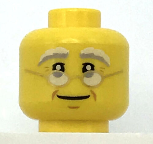 LEGO NEW YELLOW MINIFIGURE HEAD SMILE GLASSES BUSHY EYEBROWS PIECE