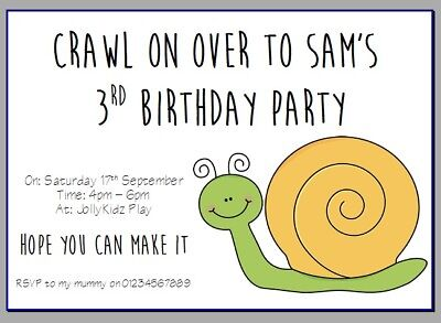 Astounding Personalised Paper Card Party Invites Invitations Birthday Snail Funny Birthday Cards Online Alyptdamsfinfo