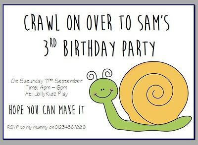 Stupendous Personalised Paper Card Party Invites Invitations Birthday Snail Funny Birthday Cards Online Fluifree Goldxyz