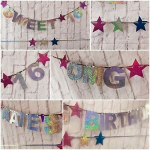 Personalizzata-16th-1st-21st-18th-13th-Festa-di-Compleanno-Striscione-DOLCE-16-ARREDAMENTO-Bunting
